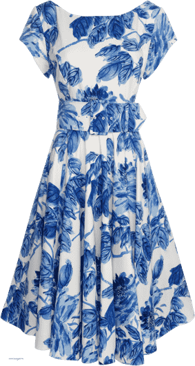 A white dress with blue flower pattern